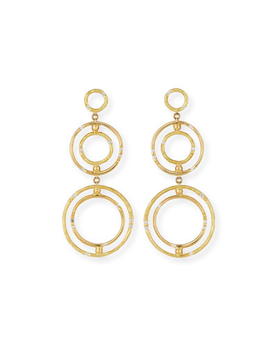 Bamboo 18K Circle Drop Earrings with Diamonds