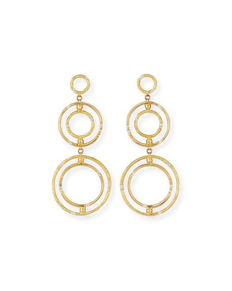 Bamboo 18K Circle Drop Earrings with Diamonds