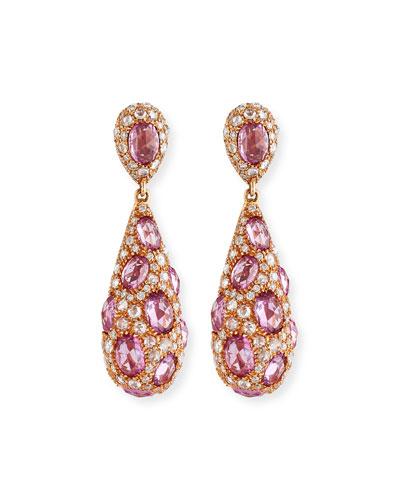 Pink Sapphire & Diamond Teardrop Earrings in 18K Rose Gold