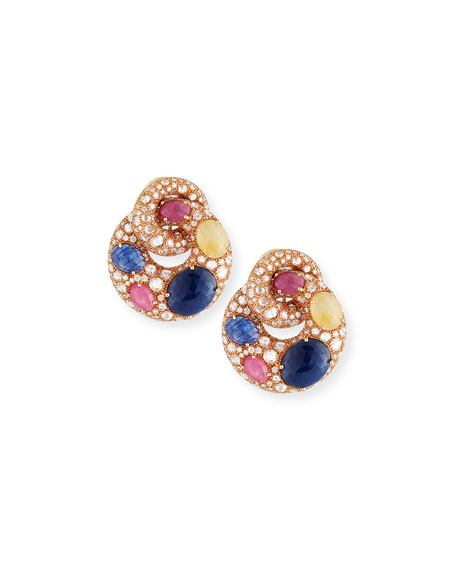 Mixed Sapphire & Diamond Link Earrings in 18K Rose Gold