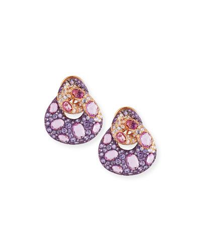 Pink Sapphire & Diamond Link Earrings in 18K Rose Gold