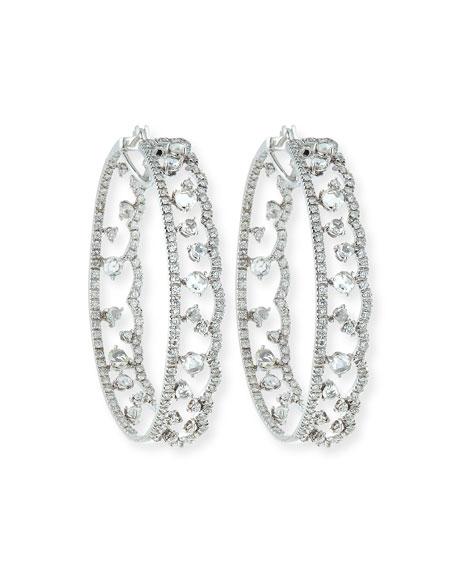 Scalloped 18K White Gold Diamond Hoop Earrings