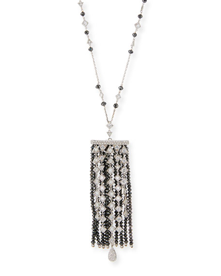 Black & White Diamond Mixed-Shape Tassel Necklace