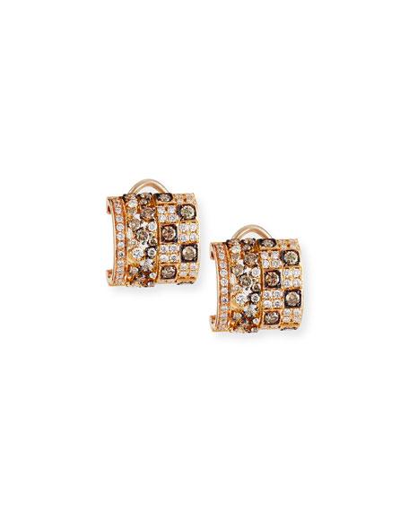 Half-Crescent Hoop Earrings with Brown & White Diamonds