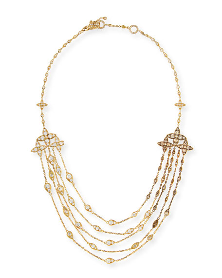 Multi-Strand Brown & White Diamond Bib Necklace