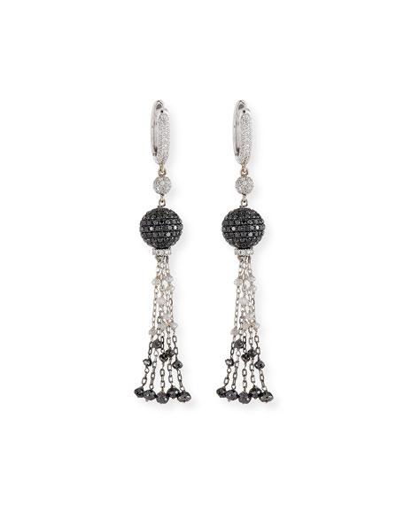 Black & White Diamond Ball Tassel Earrings