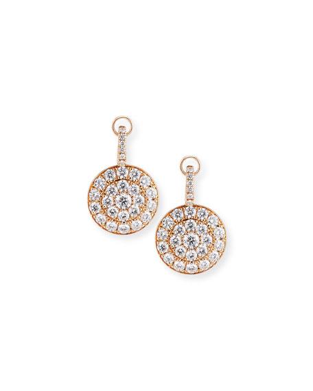 Pavé Diamond Disc Drop Earrings in 18K Rose Gold