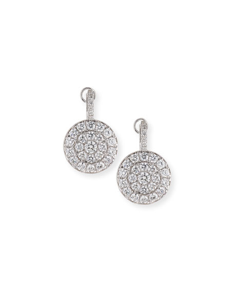 18K White Gold Diamond Disc Drop Earrings