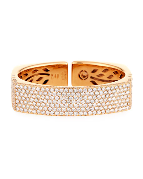 Crivelli 18K Rose Gold Square-Shaped Pavé Diamond Bangle