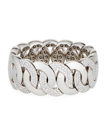 18K White Gold Stretchable Link Bracelet with Diamonds