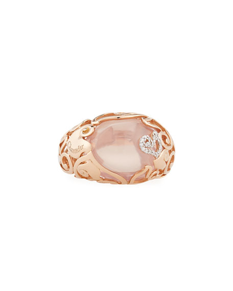 18K Rose Gold Ring with Rose Quartz & Diamonds