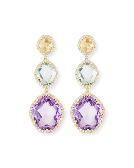 Amethyst, Prasiolite & Diamond Drop Earrings
