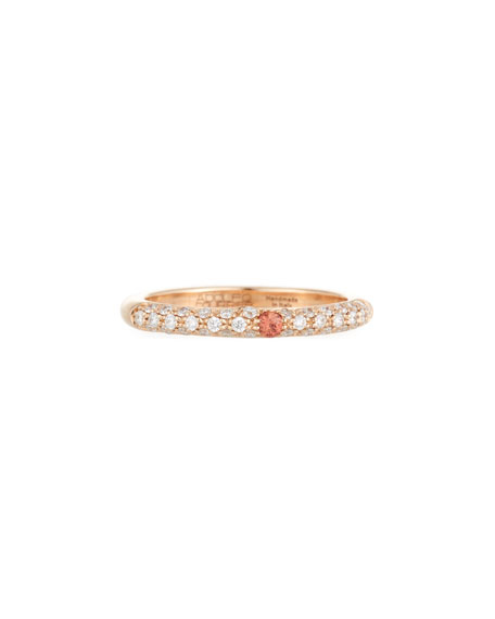 18 Karat Rose Gold Ring with Diamonds and Orange Sapphire, Size 7