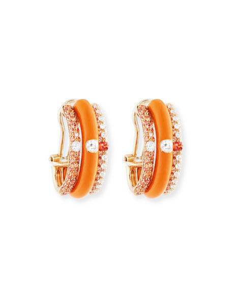 Orange Enamel & Sapphire Earrings with Diamonds