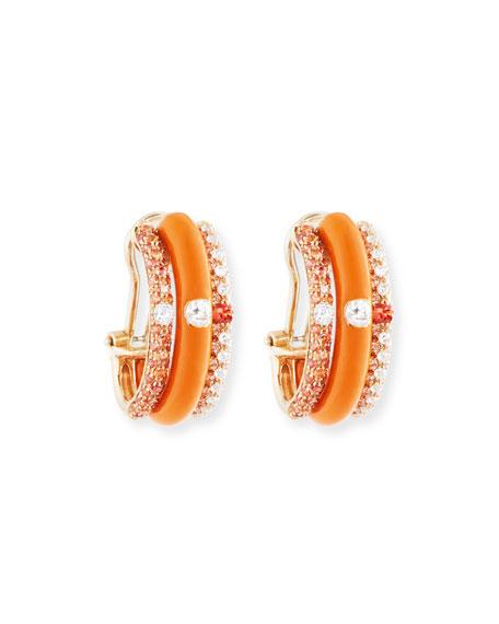 Orange Enamel & Sapphire Earrings with Diamonds