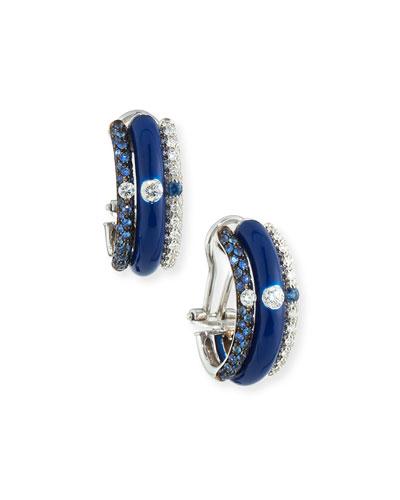 Blue Enamel & Sapphire Earrings with Diamonds