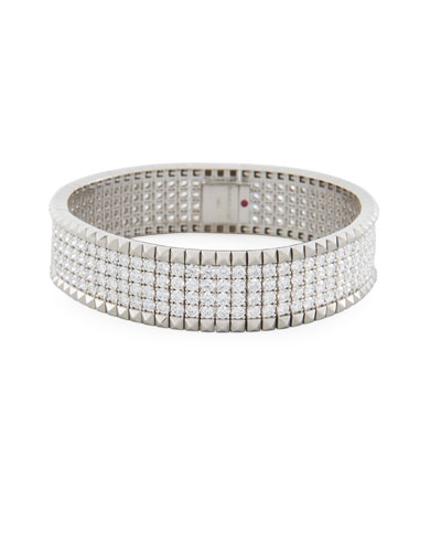 Rock & Diamonds 18K White Gold Bangle