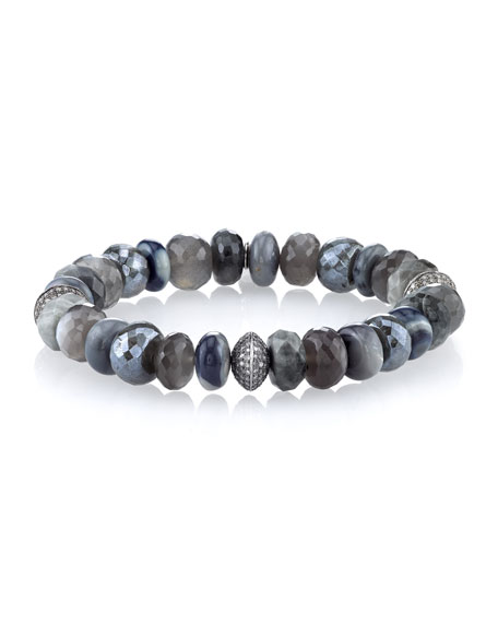 Faceted Gray Mix Beaded Bracelet with Diamond