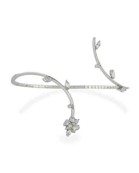 18K White Gold Open Cuff Bracelet with Round & Marquis Diamonds