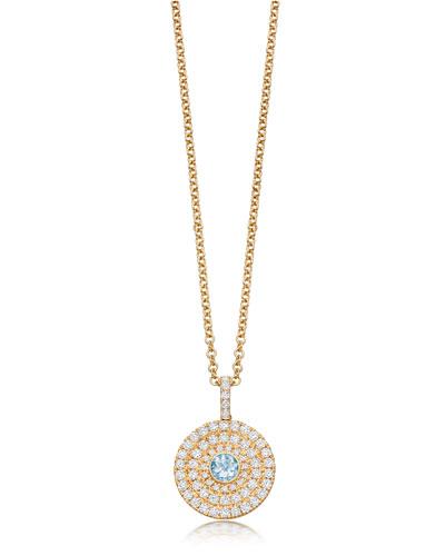 Fantasy 18K Gold Pendant Necklace with Blue Topaz & Diamonds