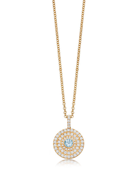Kiki McDonough Fantasy 18K Gold Pendant Necklace with Blue Topaz & Diamonds