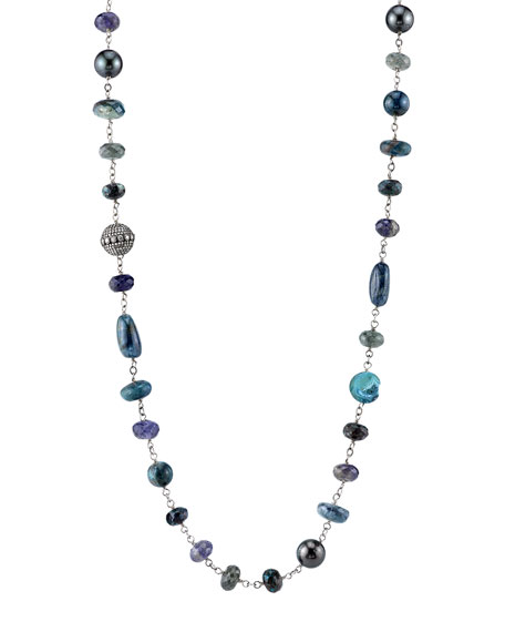 Apatite Wire Necklace with Diamond Bezel Bead
