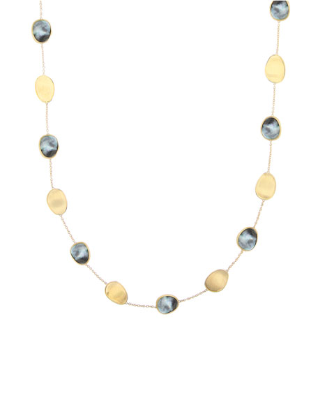 Marco Bicego Lunaria 18k Black Mother-of-Pearl Station Necklace