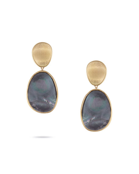 Marco Bicego 18K Yellow Gold Lunaria Black Mother-Of-Pearl Double Drop Earrings In Grey Mother Of Pearl