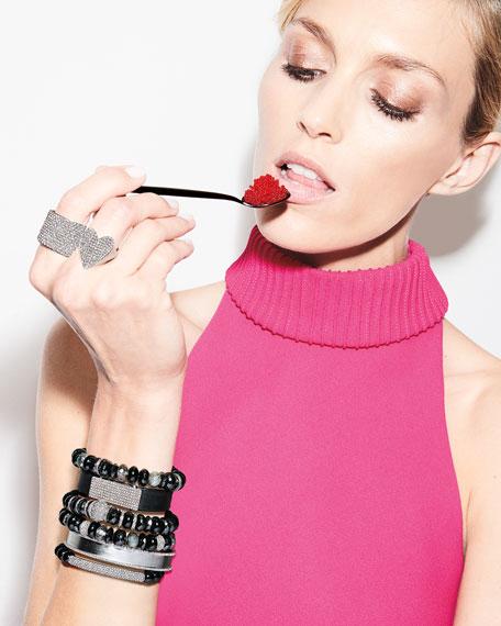 10mm Black Mix Beaded Bracelet with Diamond Rondelles