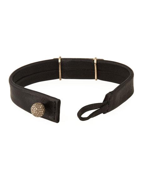Leather ID Bracelet with Diamonds