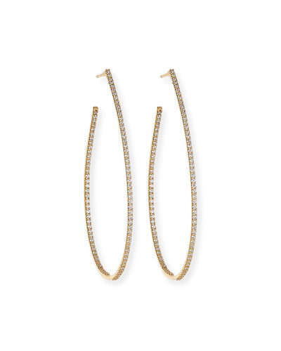 Flawless Large Teardrop Hoop Earrings with Diamonds