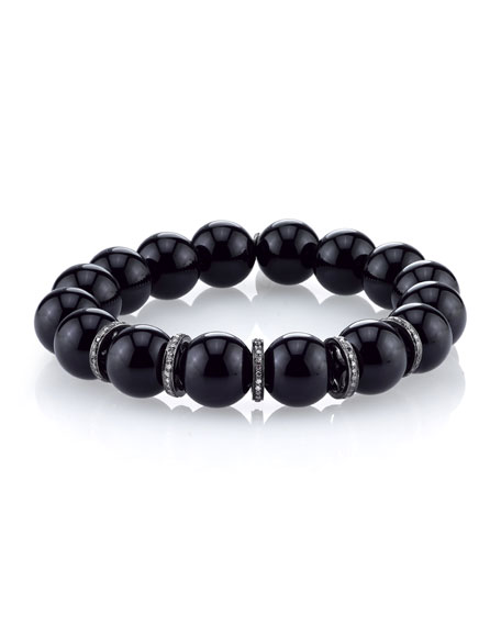 10mm Onyx Beaded Bracelet with Diamond Rondelles