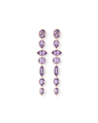 Mixed-Cut Amethyst Drop Earrings in 18K Rose Gold
