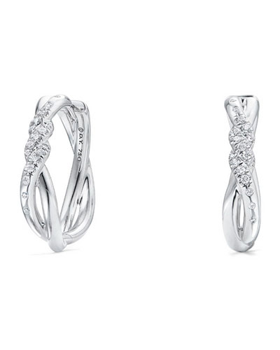21mm Continuance 18K White Gold Hoop Earrings with Diamonds