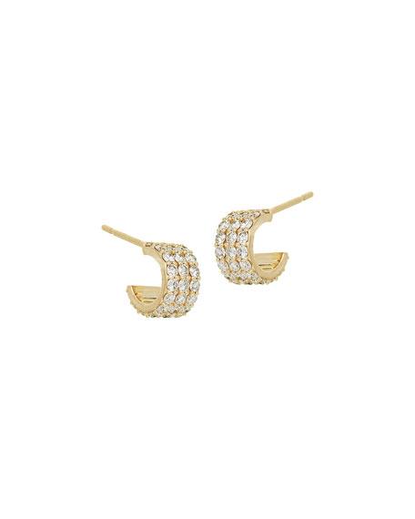 Diamond Huggie Earrings in 14K Gold