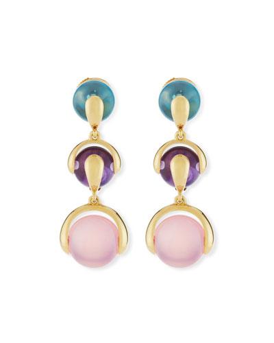 Cardan Blue Topaz, Amethyst & Rose Quartz Drop Earrings