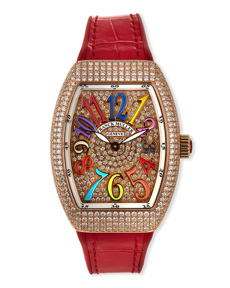 Franck Muller Lady Vanguard Diamond Watch with Embossed