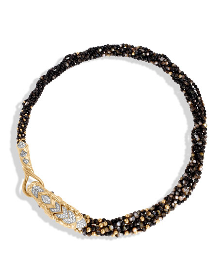 Legends Naga Beaded Collar Necklace with Diamonds