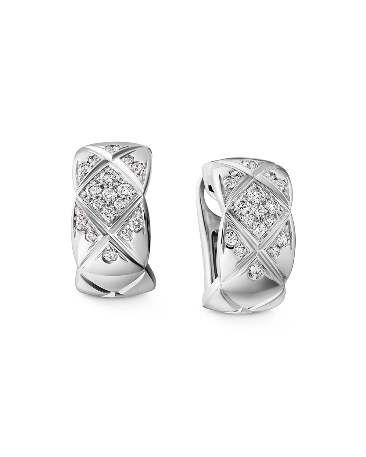 Chanel Coco Crush Earrings In 18k White Gold Diamonds