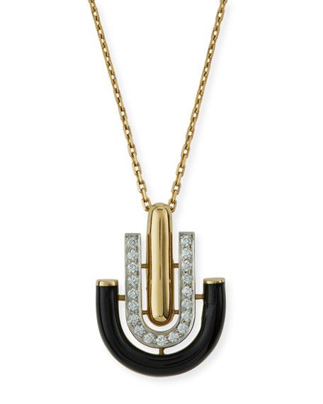 "David Webb ""Motif"" Black Enamel & Diamond Unity Pendant Necklace"