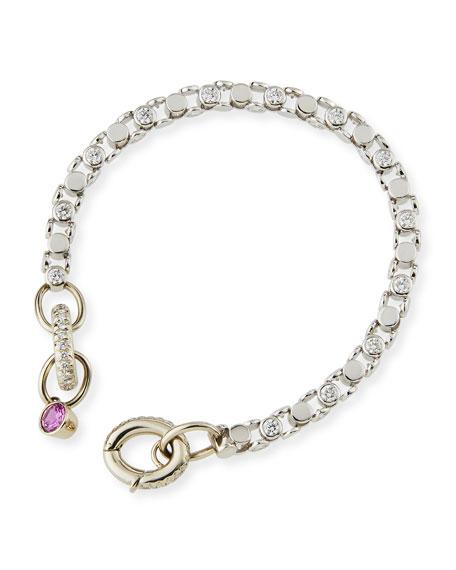 Diamond Bezel Link Bracelet with Pink Sapphire Charm