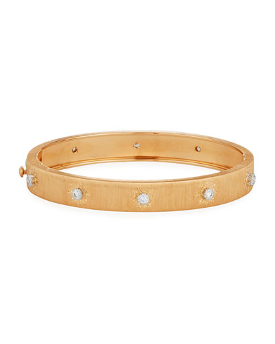 Brushed 18K Rose Gold Bracelet with Diamonds