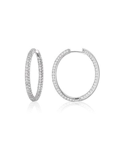 Pave Diamond Hoop Earrings