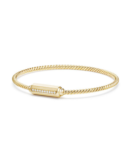 18K Gold Barrel Bracelet with Diamonds, Size M