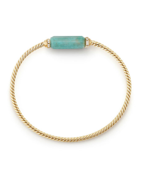 Amazonite Barrel & Diamond Bracelet, Size L