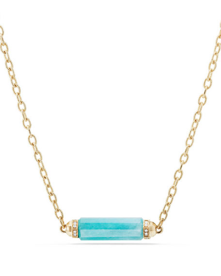 Faceted Amazonite Barrel Necklace with Diamonds