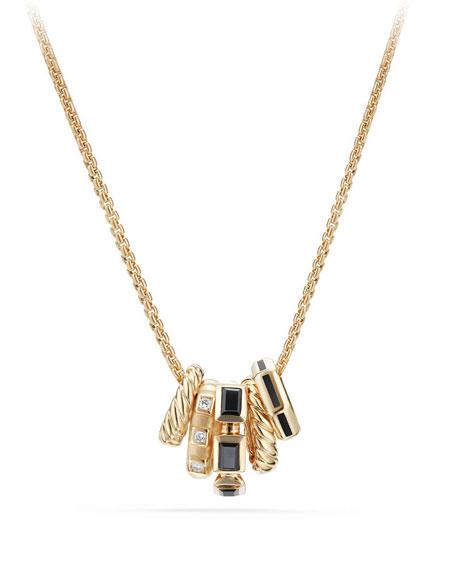 David Yurman Stax Black Spinel & Diamond Pendant Necklace