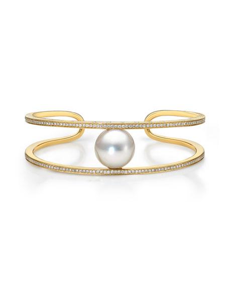 Belpearl Kobe Solitaire Pearl & Diamond Cuff