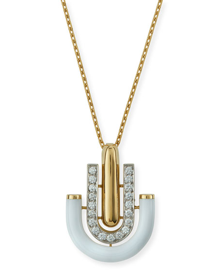 "David Webb ""Motif"" White Enamel & Diamond Unity Pendant Necklace"