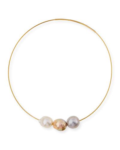 Triple Baroque Pearl Choker Necklace
